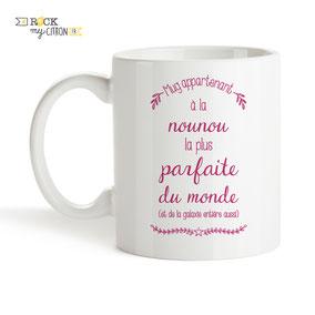 Mug à personnaliser Rock my Citron, Nounou Parfaite, Cadeaux Fêtes, Anniversaires, Mariages, Naissances, EVJF, EVG