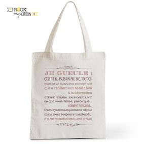 Tote Bag Rock my Citron, Je Gueule, Arthur, Kaamelott, Cadeaux Fêtes, Anniversaires