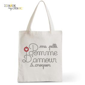 Tote Bag Rock my Citron, Bébé Pomme d'Amour, Cadeaux Fêtes, Anniversaires, Naissances