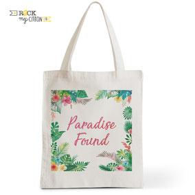 Tote Bag Rock my Citron,  Paradise Found, Cadeaux Fêtes, Anniversaires, Naissances