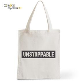 Tote Bag Rock my Citron,  Unstoppable, Cadeaux Fêtes, Anniversaires, Naissances