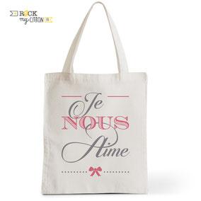 Tote Bag Mariage Rock my Citron, Je Nous Aime, Cadeaux Fêtes, Anniversaires, Mariages