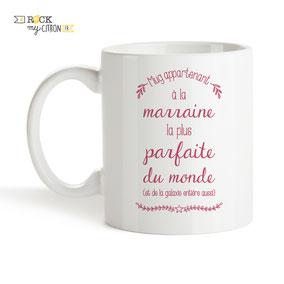 Mug à personnaliser Rock my Citron, Marraine Parfaite, Cadeaux Fêtes, Anniversaires, Mariages, Naissances, EVJF, EVG