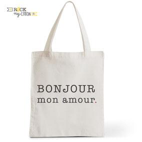 Tote Bag Mariage Rock my Citron, Bonjour Mon Amour, Cadeaux Fêtes, Anniversaires, Mariages