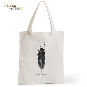 Tote Bag Rock my Citron,  Pois Plume, Cadeaux Fêtes, Anniversaires, Naissances