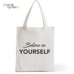 Tote Bag Rock my Citron,  Believe, Cadeaux Fêtes, Anniversaires, Naissances