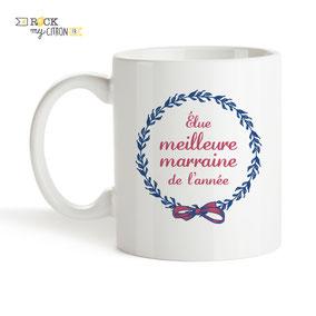 Mug à personnaliser Rock my Citron, Meilleure Marraine, Cadeaux Fêtes, Anniversaires, Mariages, Naissances, EVJF, EVG