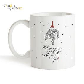 Mug à personnaliser Rock my Citron, Sous Le Gui, Cadeaux Fêtes, Anniversaires, Mariages, Naissances, EVJF, EVG