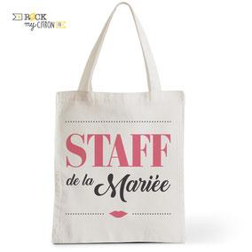 Tote Bag Mariage Rock my Citron, Staff de la Mariée, Cadeaux Fêtes, Anniversaires, Mariages