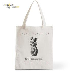 Tote Bag Rock my Citron,  Ceci n'est pas un Ananas, Cadeaux Fêtes, Anniversaires, Naissances