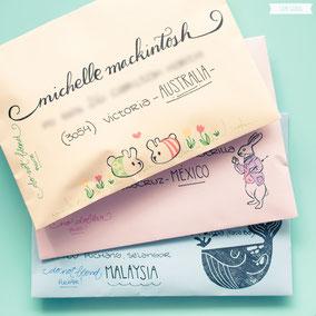 Envelope to Australia, Mexico and Malaysia by Sami Garra