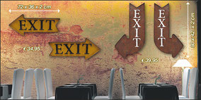 EXIT signs aus Amerika als Metallschild in 3 D