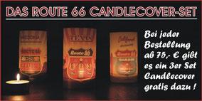 Candlecover mit Teelicht als Tischdekoration Route 66 Motiv