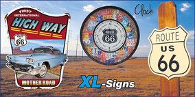 Uhr mit Route 66 Motiv