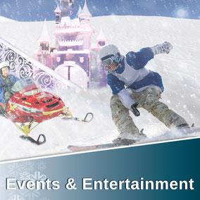 Events & Entertainment für Ski und Rodelrampen, City Events, Messe, Schneespielplatz, Dekoration & Kunst, Foto und Film, Freizeitpark, Eisbahn, Schneelieferung