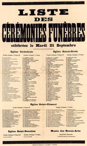 Affiche annonçant les cérémonies d'enterrement suite aux bombardements