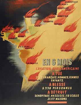 Affiche de propagande vichyste contre les bombardements Anglo-américains, de 1943
