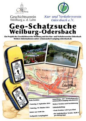 Zusammen mit dem Kur- und Verkehrsverein Odersbach wird die Geo-Schatzsuche durch den Weilburger Stadtteil angeboten. Neben festen Terminen gibt es die Möglichkeit, die Schatzsuche für Gruppen/Kleingruppen zu buchen.
