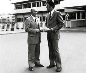 Kurt Leuninger als staatsbeauftragter Landrat eröffnet zusammen mit dem hessischen Finanzminister Heribert Reitz 1974 das neugebaute Kreiskrankenhaus Weilburg.