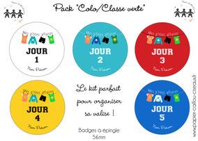 Pack badges colonie de vacances classe verte voyage
