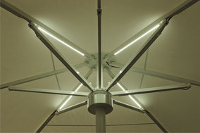 may Sonnenschirm SCHATTELLO LED Leisten im Schirmdach mit RGB Steuerung Farbwechsel Sonnenschirme für Gastronomie und Hotel