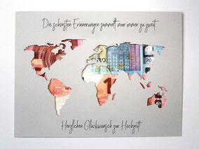Geldgeschenk Hochzeit Weltkarte