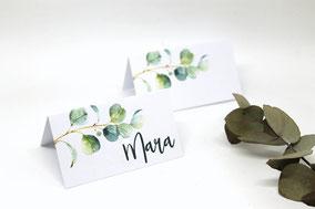 Platzkarten Eukalyptus Hochzeit