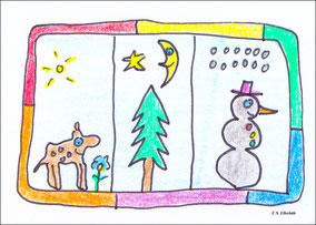Rehkitz mit Blume, Tanne mit Mond und Schneemann mit Schnee