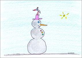 Schneemann mit Vogel und ohne Schnee
