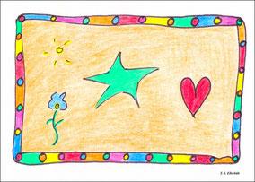 Der grüne Stern von Ellerbäh, Vergissmeinnicht, Herz und Sonne