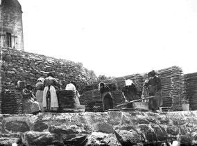 chaulage des plateaux en bois au siècle dernier en rivière d'Auray