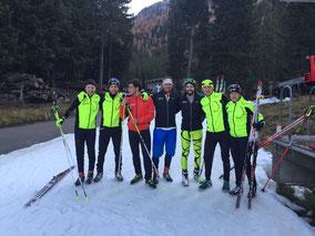 Langlauf-Team TG Hütten: v.l.n.r. Sascha Janutin, Simon Morscher, Silvio Waldmeier, Sandro Knecht, Michael Graf, Walter Höhn, Christine Staub. (Foto Christine Staub)