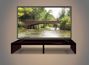 TV-Unterbau, Glas kleben