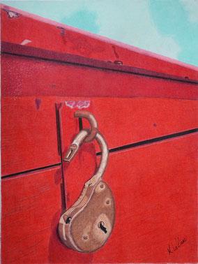 Coffre en bois, rouge, cadenas,