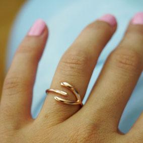 Suenos Jewellery Wishbone Ring in silber und roségold