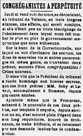 La CROIX de la Drôme 7 décembre 1902
