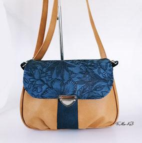 Schultertasche My City Bag, Canvas beige, Kunstleder, Wienergeflecht braun, großer Stauraum