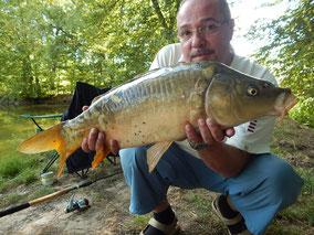 Gilles, carpe miroir prise à l'anglaise, le 22 août 2015