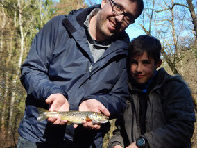 truite fario prise par Antonin et Nicolas le 26 mars 2016