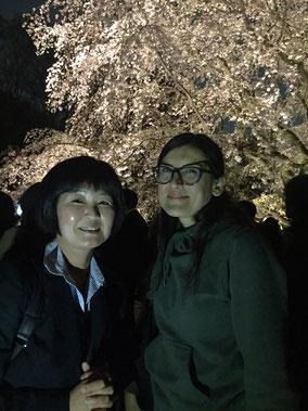 3/27 チリ大学血液内科医師のマルセラ・エスピノーザ先生と六義園の夜桜見物へ。 1月から本学血液内科で短期研修され、今週帰国予定です。