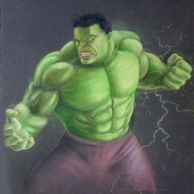 Fan Art Hulk réalisé au pastel sec - atelier la petite muse