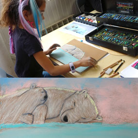 Dessin ours polaire réalisé au pastel sec ( craies et crayons )