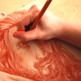 Cours dessin  portrait à la sanguine d'après photo ( le seigneur des anneaux )