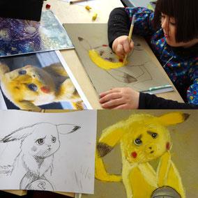 peronnage Pikachu réalisé aux pastels secs