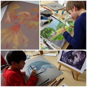 Phoenix et dragon réalisés aux pastels secs - peinture paysage d 'après photo à l'acrylique