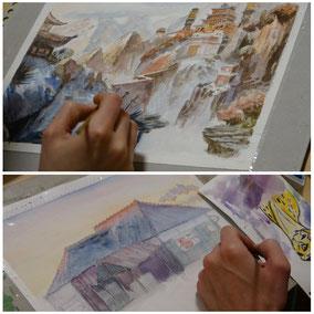 Cours dessin aquarelle d'aprés décor d'animation - la petite muse