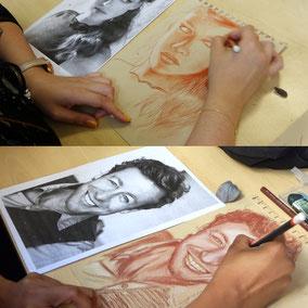 Cours dessin portrait réalisés à la sanguine et crayon blanc sur papier kraft    -     atelier la petite muse