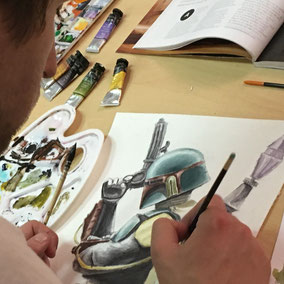 Dessin booba feet à l 'aquarelle et crayon de couleur