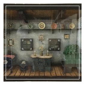 Diorama of cottage interior
