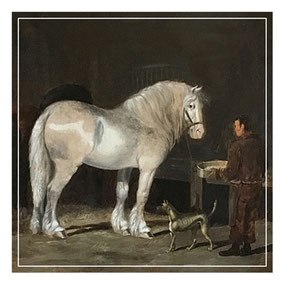 Henry Woollett  Horses in a stable to groom and dog